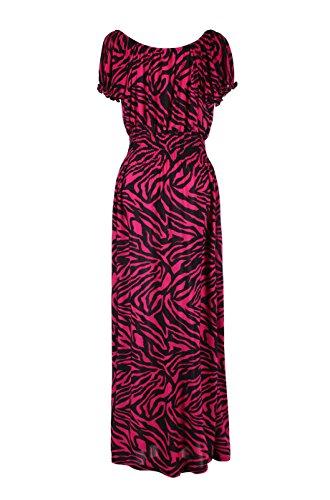 2LUV Plus Women's Short Sleeve Zebra Print Plus Size Summer Holiday Resort Beach Maxi Dress Pink & Black 1XL