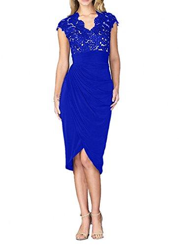 La Brautmutterkleider Tanzenkleider Knielang mia Festlichkleider Royal Braut Abendkleider Royal Blau Neu Spitze Blau Kurzarm fvZTfBrqwx