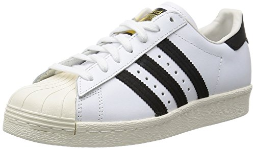 adidas Men's Superstar 80s, WHITE/BLACK1/CHALK2, 9.5 M US