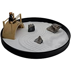 ICNBUYS Mini Zen Garden Bridge Fisher Man Set Table Top Office and Home Decoration with Free Rake and Pushing Sand Pen Base Tray Diameter 9.4 inches