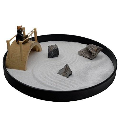 ICNBUYS Mini Zen Garden Bridge Fisher Man Set Table Top Office and...
