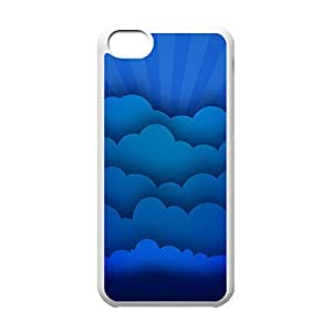 Cool iPhone 5C White Case,Blue Clouds Customized Hard Back Case for iPhone 5C iPhone 5Cs ¡ê¡§White 102227¡ê?