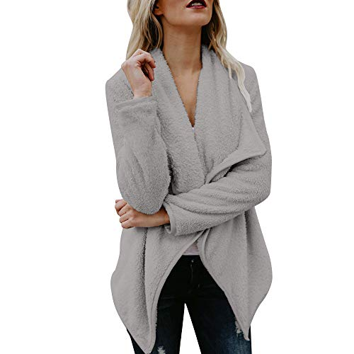 Cardigan Open Jacket Casual Sleeve Long Suit Grey Women Front Woolen NEEDRA Sweater Coat XPqw4HnP