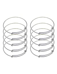 GraceAngie 10PCS/Set Adjustable Wire Blank Bracelet Expandable Bangle for DIY Jewelry Making, 2.4 Inch - Silver