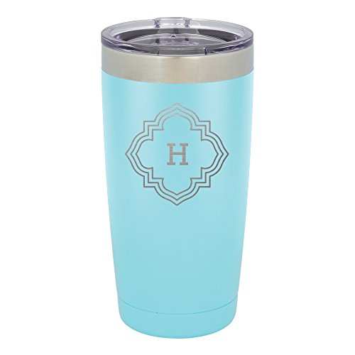 Froolu Monogram For Rtic Tumbler - Blue Personalized Laser Engraved Tumbler - Hydro Travel Cup Flask Monogram Travel Mugs