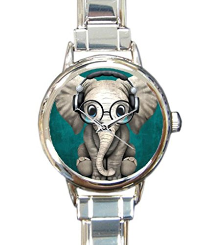 (Coolstuffs Elephant Baby Wearing Glasses Sliver Quartz Analog Italian Charm Watch Fashion Casual Watches for Women )