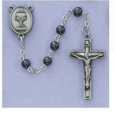 Chalice Center - 5mm Hematite Communion Rosary Black Leather Box Pewter Crucifix and Chalice Center Gift Box Included