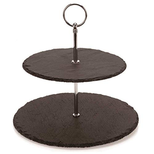 2 Tier Cake Stand - Two Tier Slate Cake Stand - Round Multi Tiered Tray Serving Plate, Cupcake Holder Display, Dessert Tower, Fruit Platter w/Stainless Steel Rods and Handle, For Wedding, Birthday - NutriChef PKCKSTD10