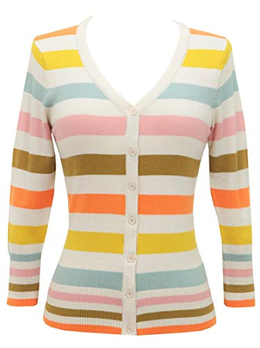 YEMAK Cute Trendy Soft Casual 4 Lively Colors Striped Style Cardigan Sweater HB2153-S - Spandex Striped Sweater