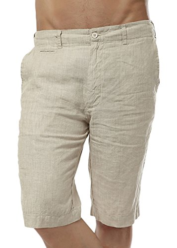 utcoco Men's Summer Straight Fit Flat-Front Linen Shorts (Medium, Khaki) by utcoco
