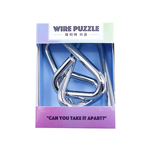 (Brain Teaser IQ Puzzle Toys Metal Wire Puzzle,[ Light Blue/Level 2 ], Metallic, Bind and Solve)
