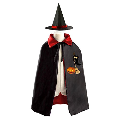 Girl Wizard Costume Ideas (Wicked Black Cat Witch Cloak Reversible Cosplay Costume Satin Cape Boys Girls Red Purple)