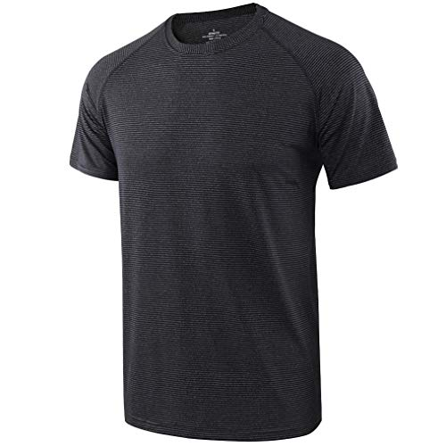 (Men's Loose Dry-Fit Workout Athletic Short Sleeve T-Shirts)
