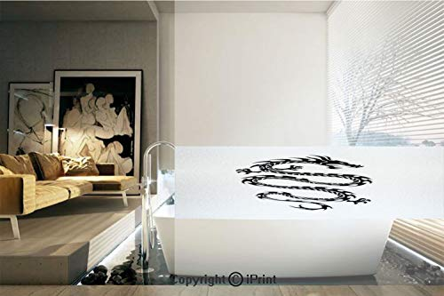 (Decorative Privacy Window Film/Black Silhouette Tribal Design Fantastic Medieval Serpent with Claws Decorative/No-Glue Self Static Cling for Home Bedroom Bathroom Kitchen Office Decor Black White)