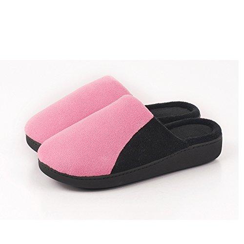 En automne et en hiver, maison pantoufles, femmes, coton, doux, confortable, chaud, insipide, peluche, semelle épaisse, anti-dérapant , pink , 38/39