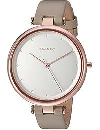 Skagen SKW2484 Reloj para Mujer Redondo, Análogo, color Plata y Beige