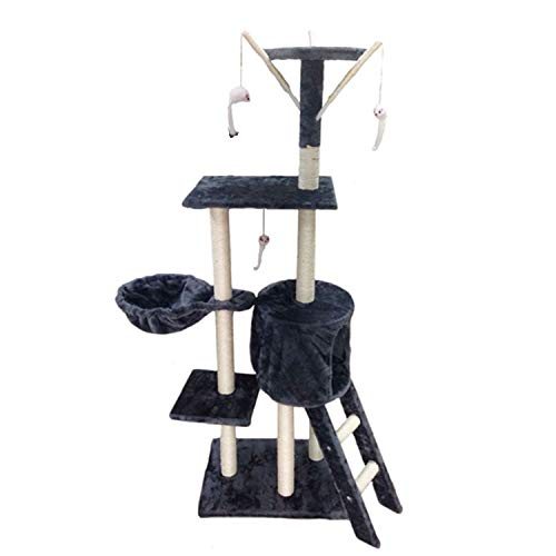 Jim-Hugh Cat Climbing Tree Tower Condo Scratcher Furniture Kitten House Hammock with Scratching Post and Toys Playhouse