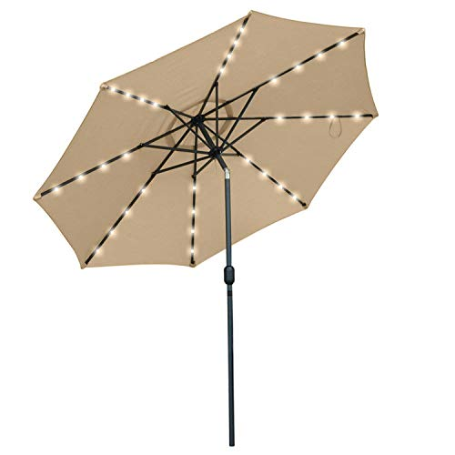 Snail 9 feet Solar Powered LED Patio Umbrella with 32 Lights, Fade Resistant Garden Aluminum Table Umbrella with Push Button Tilt, Beige