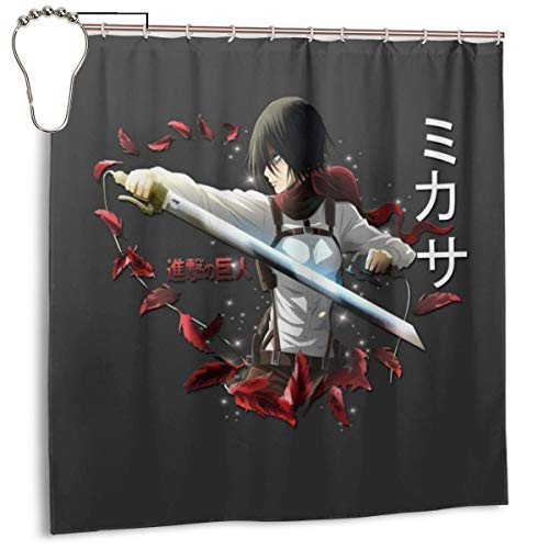 ENXIANGXIJ Waterproof Polyester Fabric Shower Curtain Attack On Titan Mikasa ODM Gear Print Decorative Bathroom Curtain with Hooks,72