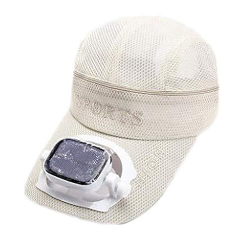 (Solar Energy Belt Fan Baseball Golf Hat Storage Belt Switch Fan Cap Sun Hat Peaked Cap/Solar Panel On The Cap,White)