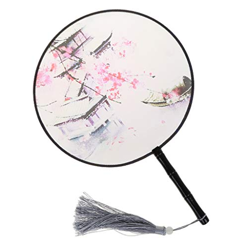 Rhfemd Wood Handle Chinese Style Palace Round Hand Held Silk Fan Translucent Art Craft Gift Ladies Classical Dance Gift ()