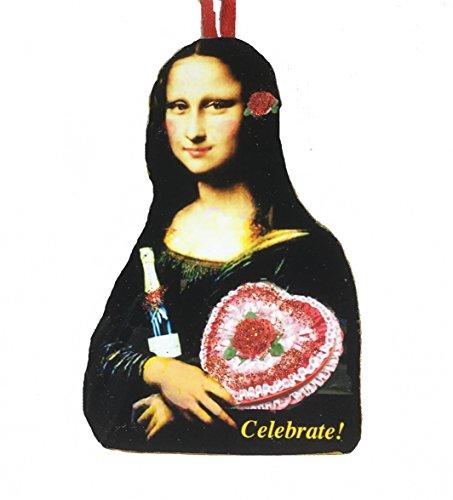 Mona Lisa Valentine Ornament Handcrafted Wood Leonardo DaVinci, - Wine Da Vinci