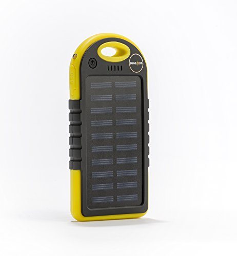 Solar Charger, SunGods Solar Technologies,(USB cable included) 5000mAh Portable Solar Power Bank Dual USB Battery Bank for cell phone,iPhone,Samsung,Android phones. (Yellow)