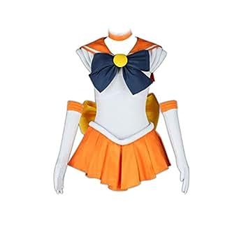 Sailor Moon Cosplay Costume -Sailor Venus Minako Aino 1st Fighting Kid Large