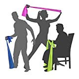 EXERCISE RESISTANCE STRETCH BANDS - Elastic Fitness Home Training Equipment for Men Women Seniors | Workout Kit for Yoga Pilates p90x trx Stretching Tone | Legs Ankle Arms Thigh | LATEX FREE | 6.5ft