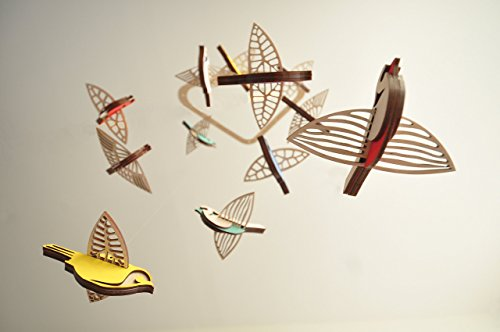 Flying High Bird mobile medium - wooden mobile - nursery mobile by Asymmetree