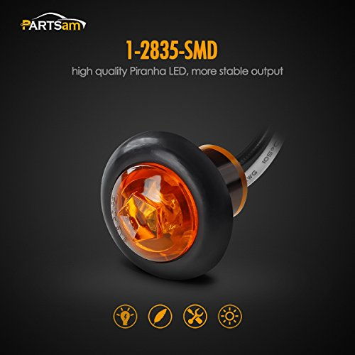 Partsam 8x 3 4 Inch Mount Amber Clearance Led Bullet Light