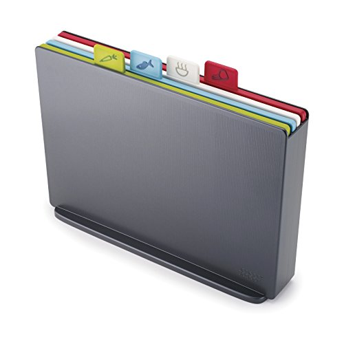 - Joseph Joseph 60135 Index Plastic Cutting Board Set with Storage Case Color-Coded Dishwasher-Safe Non-Slip, Large, Graphite