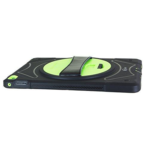 Cellular360 Shockproof Case for Apple iPad Air 2 , Protective and Handy Case with 360 Degrees Rotatable Kickstand and Leather Handle (Black/Green) by Cellular360 (Image #2)