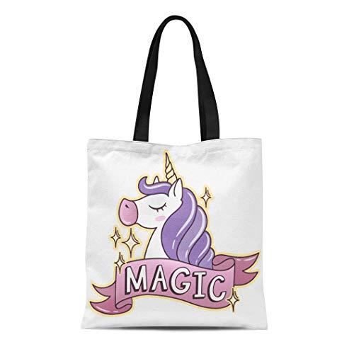 - Semtomn Canvas Tote Bag Shoulder Bags Pink Horse Cute Unicorn Ribbon on White Badges Patches Women's Handle Shoulder Tote Shopper Handbag