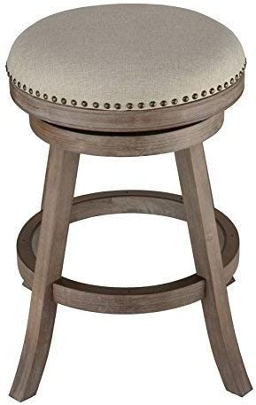 Cortesi Home Sadie Backless Swivel Counter Stool in Solid Wood Beige Fabric