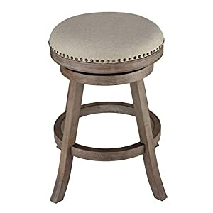 "Cortesi Home Sadie Backless Swivel Counter Stool in Solid Wood & Beige, 24"" Height, Beige Fabric"