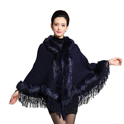 Hooded Wrap Jacket - Saikey Womens Warm Loose Hoodie Tassel Wrap Faux Rabbit Fur Batwing Sleeve Warm Outwear Coat Cape Jacket Shawl (Navy)