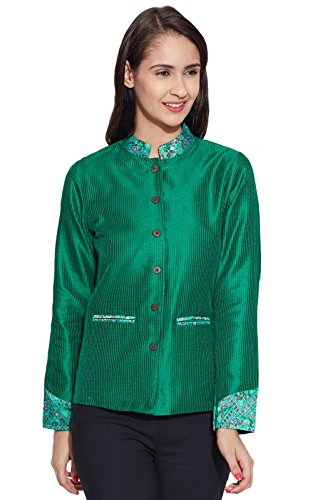 India Gift Faux Women For Silk Her Blouse Short Green Clothing Top Jakcet Ethnic 0rrwztq