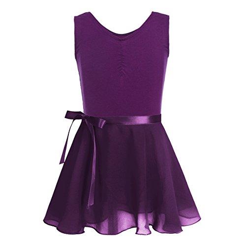 Girls Sleeveless Skirt Set - Freebily Girls Activewear Dance Dress Sleeveless Ballet Dance Gymnastics Leotard with Mesh Tied Skirt Outfit Sets Dark Purple(Sleeveless) 12-14