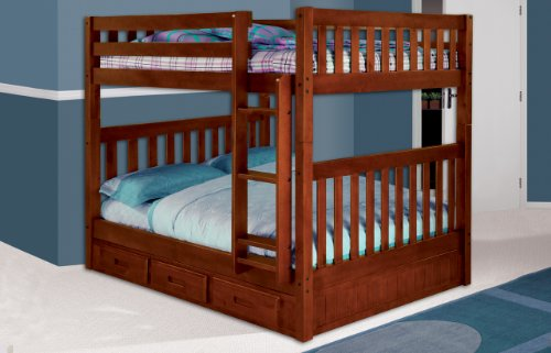 Cheap Discovery World Furniture Mission Full Over Full Bunk Bed with 3 Drawers, Desk, Hutch, Chair and Entertainment Dresser in Merlot Finish