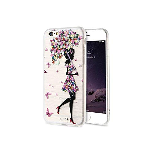 Fashion Patterned Phone Cases for iPhone 7 8 Plus Soft Silicone Cover for iPhone 6 6s Plus X XS MAX XR 5S Funda Capinha,Flower Umbrella,for iPhone 7 8 ()