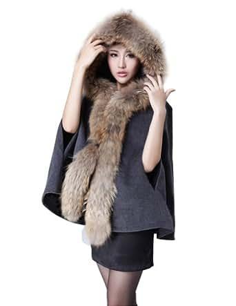Senfloco Luxury Women's Mink Fur Collar Cape Hooded Poncho Cloak Outwear Coat (L, Dark Gray)