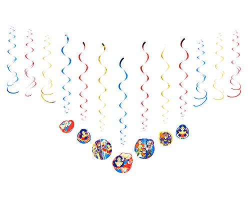 DC Super Hero Girls Swirl Decorations, 12 Pieces