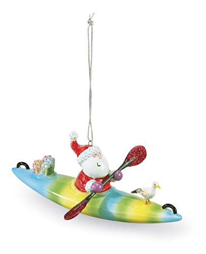 (Cape Shore Santa on a Kayak Christmas Ornament )
