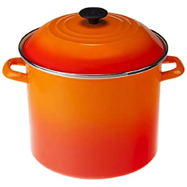Le Creuset Enamel-on-Steel Covered Stockpot, 10-Quart, Flame