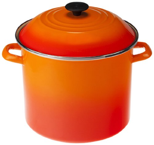 Le Creuset Cast Iron Pot (Le Creuset Enamel-on-Steel Covered Stockpot, 10-Quart, Flame)