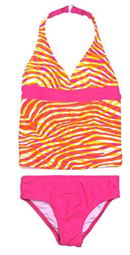 Speedo Girl's Sunset Halter Tankini 2 Piece Swimsuit Orange Size 12 (Piece Speedo 2 Tankini)
