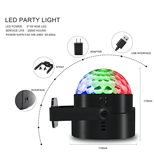 AOMEES Disco Light Party Lights Disco Ball LED Strobe Lights Sound Activated Dance Light Stage DJ Lighting for Home Kids Birthday Parties Festival Holiday Decorations Karaoke Bar Club (with USB) by AOMEES (Image #5)