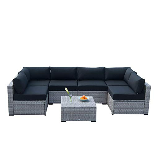 Auro Outdoor Furniture Sectional Sofa Conversation Set 7-Piece Set All-Weather Gray Wicker Seating with Water Resistant Black Olefin Cushions Patio, Backyard, Pool Incl. Waterproof Cover Clips