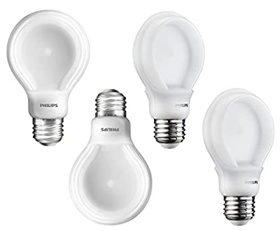 Philips 200952P 60-Watt Equivalent SlimStyle A19 LED Light Bulb Soft White, Dimmable 4-Pack
